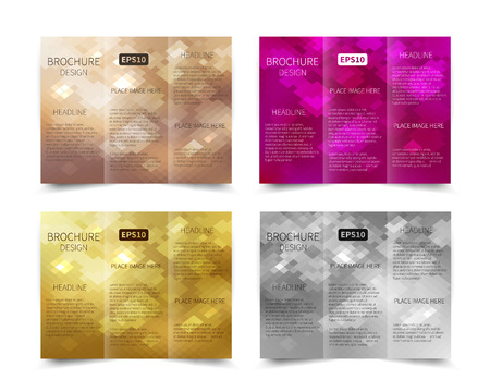 Set of Christmas vector tri-fold brochure design template with abstract geometric background EPS10 Tri-Fold Mock up back Brochure Design