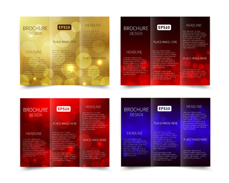Set of vector tri-fold brochure design template with abstract geometric background EPS10 Tri-Fold Mock up back Brochure Design