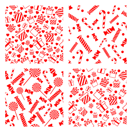 Set of seamless Christmas patterns with gift boxes, candies, and snowflakes Illustration