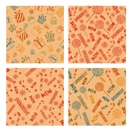 Set of seamless Christmas patterns with gift boxes, candies, and snowflakes. Christmas and New Year holidays background design.Vector design EPS10 Illustration