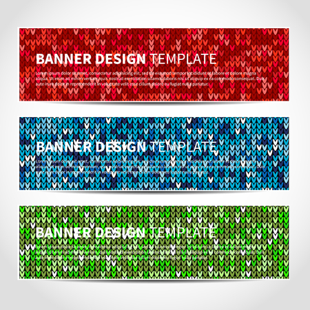 knit: Set of trendy Christmas vector banners template or website headers with abstract knitted background. Vector design illustration EPS10 Illustration