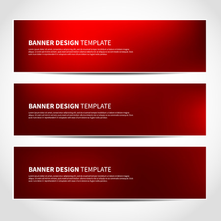Set of trendy Christmas red vector banners template or website headers with abstract geometric background. Vector design illustration EPS10
