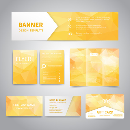 Banner, flyers, brochure, business cards, gift card design templates set with geometric triangular yellow background. Corporate Identity set, Advertising, Christmas party promotion printing