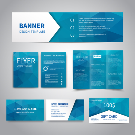 Banner, flyers, brochure, business cards, gift card design templates set with geometric triangular blue background. Corporate Identity set, Advertising, Christmas party promotion printing