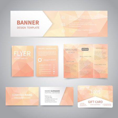Banner, flyers, brochure, business cards, gift card design templates set with geometric triangular pink background. Corporate Identity set, Advertising, Christmas party promotion printing Illustration
