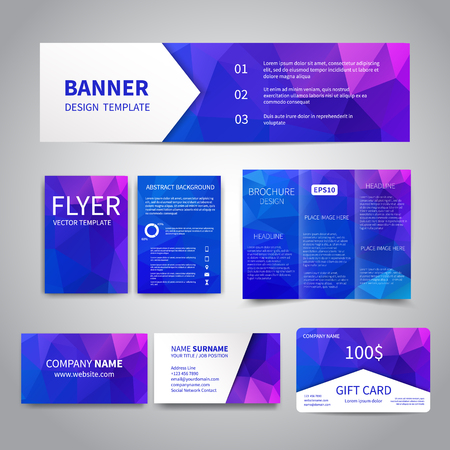 printing business: Banner, flyers, brochure, business cards, gift card design templates set with geometric triangular purple background. Corporate Identity set, Advertising, Christmas party promotion printing
