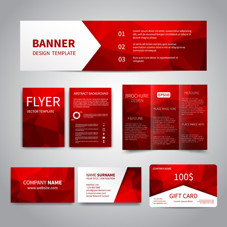 Banner, flyers, brochure, business cards, gift card design templates set with geometric triangular red background. Corporate Identity set, Advertising, Christmas party promotion printing