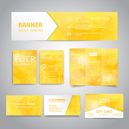triangular banner: Banner, flyers, brochure, business cards, gift card design templates set with geometric triangular yellow background. Corporate Identity set, Advertising, Christmas party promotion printing