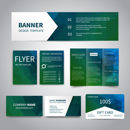 printing business: Banner, flyers, brochure, business cards, gift card design templates set with geometric triangular blue background. Corporate Identity set, Advertising, Christmas party promotion printing