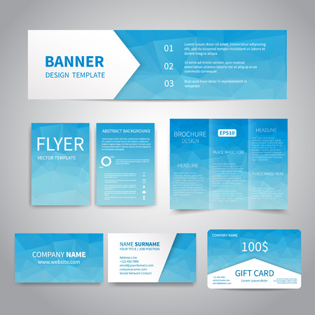 Banner, flyers, brochure, business cards, gift card design templates set with geometric triangular blue background. Corporate Identity set, Advertising, promotion printing