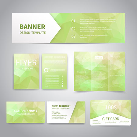 print template: Banner, flyers, brochure, business cards, gift card design templates set with geometric triangular green background. Corporate Identity set, Advertising, promotion printing Illustration