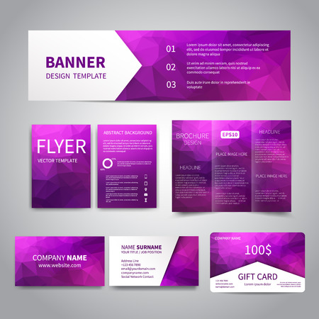 Banner, flyers, brochure, business cards, gift card design templates set with geometric triangular purple background. Corporate Identity set, Advertising, Christmas party promotion printing