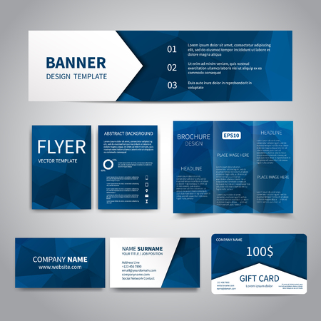 business card template: Banner, flyers, brochure, business cards, gift card design templates set with geometric triangular blue background. Corporate Identity set, Advertising, Christmas party promotion printing