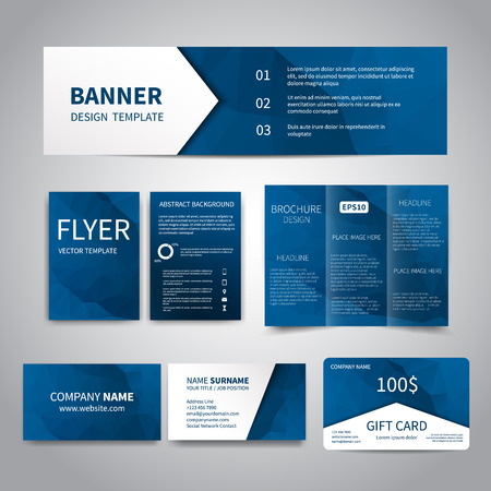 Banner flyers brochure business cards gift card design templates flyers brochure business cards gift card design templates set with geometric triangular blue background corporate identity set advertising colourmoves
