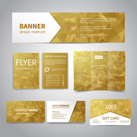 christmas gold: Banner, flyers, brochure, business cards, gift card design templates set with geometric triangular gold background. Corporate Identity set, Advertising, Christmas party promotion printing