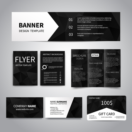 Banner, flyers, brochure, business cards, gift card design templates set with geometric triangular black background. Corporate Identity set, Advertising, Christmas party promotion printing Illustration