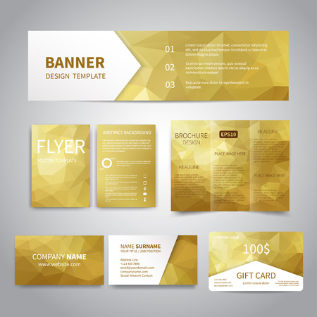 Banner, flyers, brochure, business cards, gift card design templates set with geometric triangular golden background. Corporate Identity set, Advertising, Christmas party promotion printing