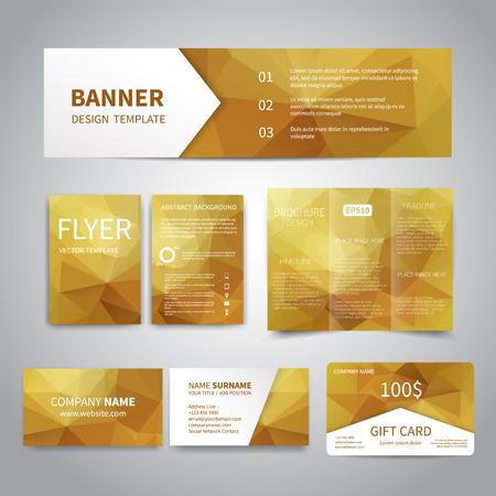 Banner, flyers, brochure, visitekaartjes, gift card ontwerp sjablonen set met geometrische driehoekige gouden achtergrond. Corporate Identity set, Advertising, kerstfeest promotie afdrukken