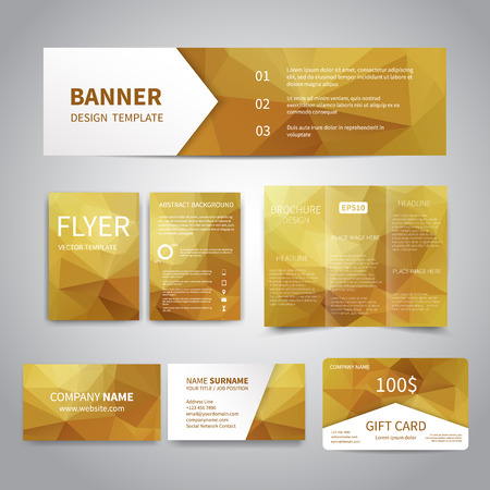 Banner, flyers, brochure, business cards, gift card design templates set with geometric triangular gold background. Corporate Identity set, Advertising, Christmas party promotion printing