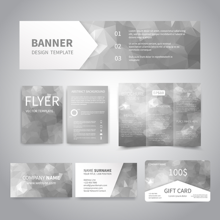 Banner, flyers, brochure, business cards, gift card design templates set with geometric triangular silver background. Corporate Identity set, Advertising, Christmas party promotion printing Illustration