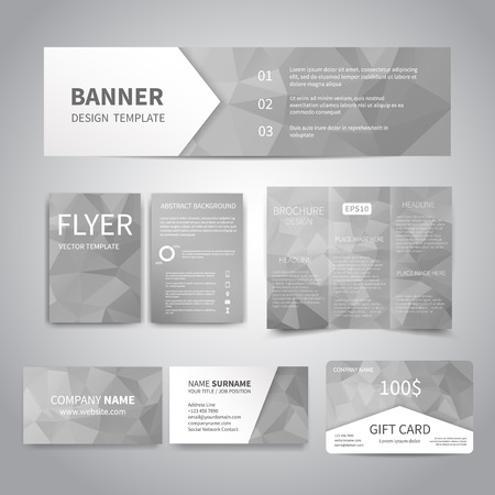 Banner, flyers, brochure, business cards, gift card design templates set with geometric triangular gray background. Corporate Identity set, Advertising, Christmas party promotion printing