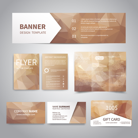 Banner flyers brochure business cards gift card design templates banner flyers brochure business cards gift card design templates set with geometric accmission Image collections