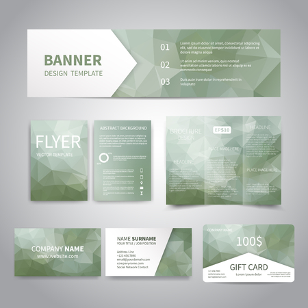 Banner, flyers, brochure, business cards, gift card design templates set with geometric triangular green background. Corporate Identity set, Advertising, promotion printing Illustration