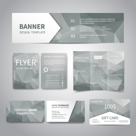 Banner, flyers, brochure, business cards, gift card design templates set with geometric triangular grey background. Corporate Identity set, Advertising, promotion printing Illustration