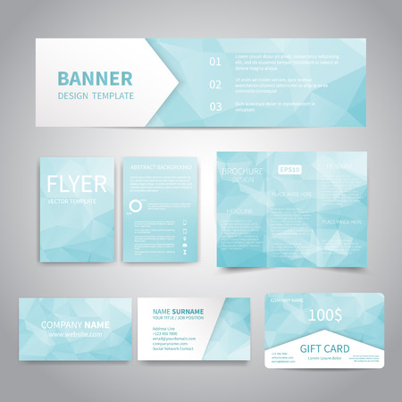 Banner, flyers, brochure, business cards, gift card design templates set with geometric triangular light blue background. Corporate Identity set, Advertising, promotion printing