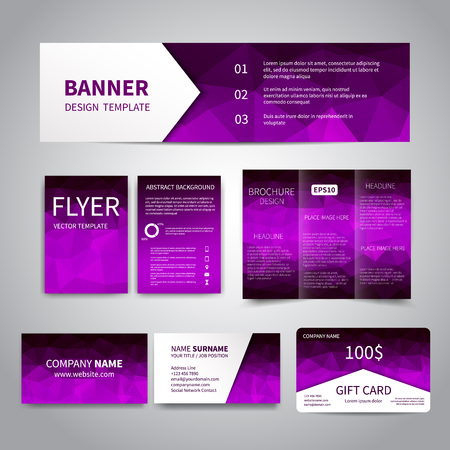 Banner, flyers, brochure, business cards, gift card design templates set with geometric triangular purple and black background. Corporate Identity set, Advertising, Christmas party promotion printing