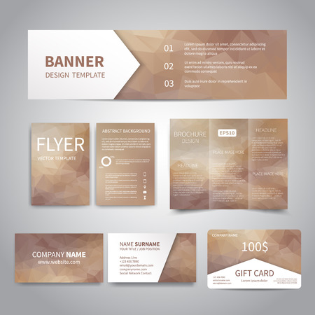 Banner, flyers, brochure, business cards, gift card design templates set with geometric triangular beige background. Corporate Identity set, Advertising, Christmas party promotion printing Illustration