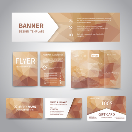 Banner, flyers, brochure, business cards, gift card design templates set with geometric triangular bronze background. Corporate Identity set, Advertising, Christmas party promotion printing