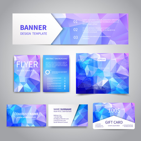 Banner, flyers, brochure, business cards, gift card design templates set with geometric triangular blue icy background. Corporate Identity set, Advertising, Christmas party promotion printing Illustration