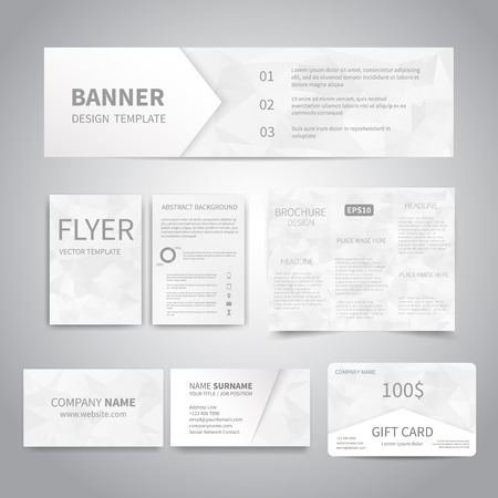 Banner, flyers, brochure, business cards, gift card design templates set with geometric triangular white background. Corporate Identity set, Advertising, Christmas party promotion printing