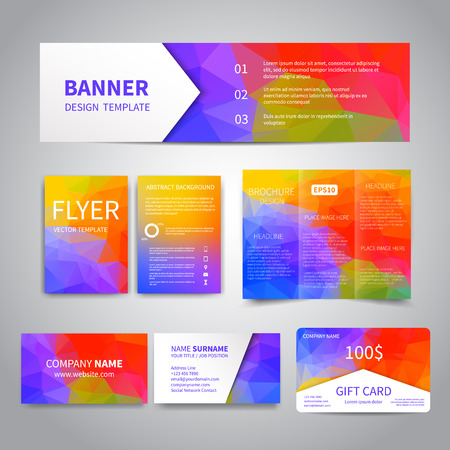 stationary: Banner, flyers, brochure, business cards, gift card design templates set with geometric triangular colorful background. Corporate Identity set, Advertising, promotion printing