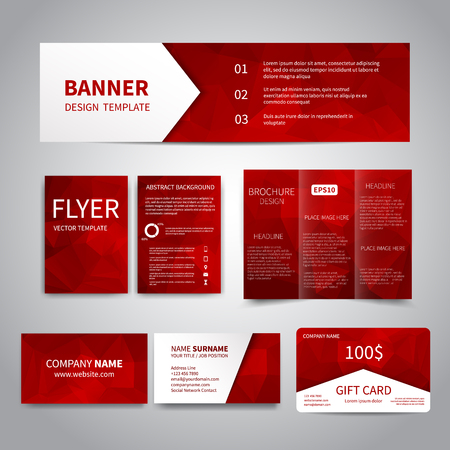Banner, flyers, brochure, business cards, gift card design templates set with geometric triangular red background. Corporate Identity set, Advertising, Christmas party invitation promotion printing Illustration