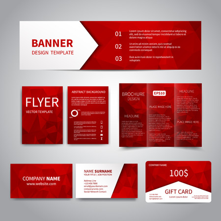 advertising design: Banner, flyers, brochure, business cards, gift card design templates set with geometric triangular red background. Corporate Identity set, Advertising, Christmas party promotion printing