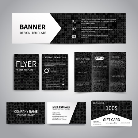 printing business: Banner, flyers, brochure, business cards, gift card design templates set with geometric black background with circles. Corporate Identity set, Advertising flyers, banner, cards, promotion printing Illustration