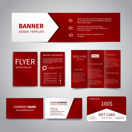 Banner flyers brochure business cards gift card design templates banner flyers brochure business cards gift card design templates set with red reheart Images