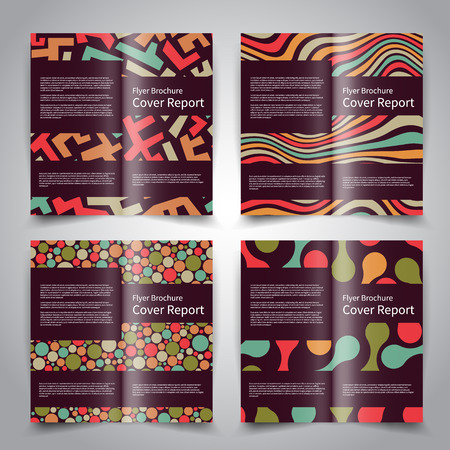 trend: Brochure design templates set with abstract geometric ornament background. Retro colors. Vector brochure mockup EPS10