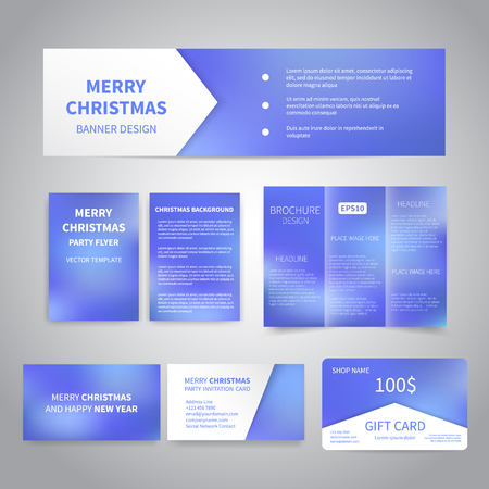 blue party: Merry Christmas Banner, flyers, brochure, cards, gift card design templates set on blue background. Merry Christmas and Happy New Year party invitation, promotion printing Illustration