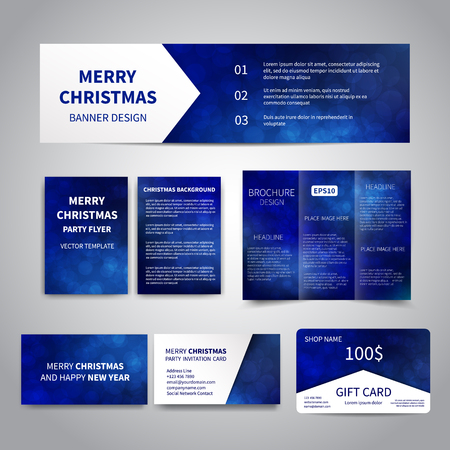 blue party: Merry Christmas Banner, flyers, brochure, cards, gift card design templates set with snowflakes, sparkles on blue background. Merry Christmas and Happy New Year party invitation, promotion printing