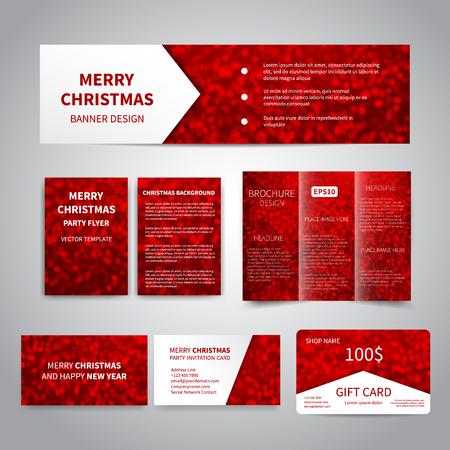 Feliz Navidad Banner, volantes, folletos, tarjetas, plantillas de diseño de tarjetas de regalo con destellos sobre fondo rojo. Invitación del partido de la Feliz Navidad y de la Feliz Año Nuevo, impresión de la promoción