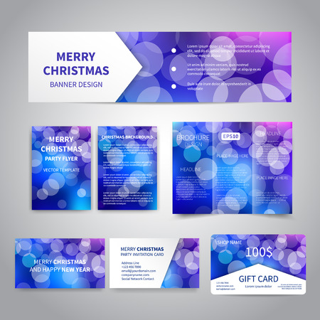 bokeh lights: Merry Christmas Banner, flyers, brochure, cards, gift card design templates set with bokeh lights on blue festive background. Merry Christmas and Happy New Year party invitation, promotion printing Illustration