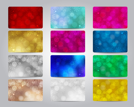 beige backgrounds: Merry Christmas and Happy New Year gift card or discount card big set with colorful bokeh lights backgrounds with snowflakes. Red, gold, beige, bronze, silver, blue, white colors