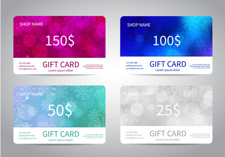 Merry Christmas and Happy New Year gift card or discount card set with colorful bokeh lights backgrounds with snowflakes. Vector design EPS10 Vectores