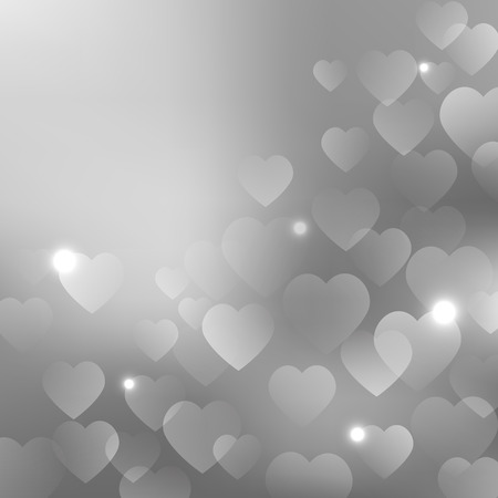 Background with silver hearts Ilustração