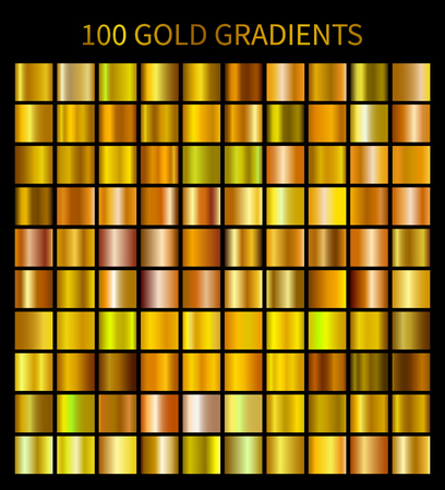 Gold gradients 100 big set. Mega collection of golden gradient illustrations for backgrounds Vectores