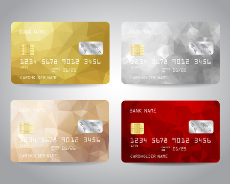 Realistic detailed credit cards set with colorful gold, silver, bronze, red triangular design background. Golden card, silver card Vector template EPS10