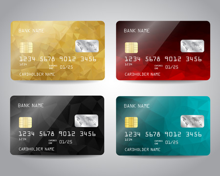 balck: Realistic detailed credit cards set with colorful gold, balck, red, blue triangular design background. Golden card. Vector template EPS10